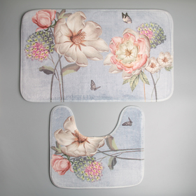Set of floor mats for the bath and toilet 2 piece is 40x45 cm, 45x75 cm