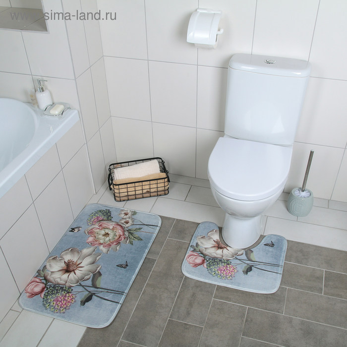 """Set of floor mats for the bath and toilet 2 piece is 40x45 cm, 45х75 cm """"Spring"""""""