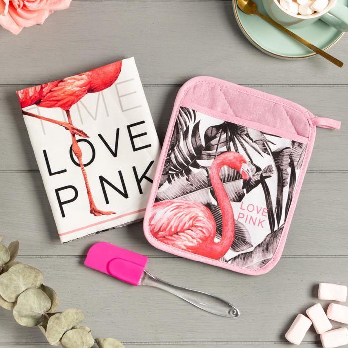 Набор подарочный LOVE PINK прихватка-карман, полотенце, лопатка - фото 487035
