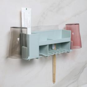 Полка для ванной комнаты в комплекте с 2 стаканами и креплениями, 36×6,7×12,5 см, цвет МИКС