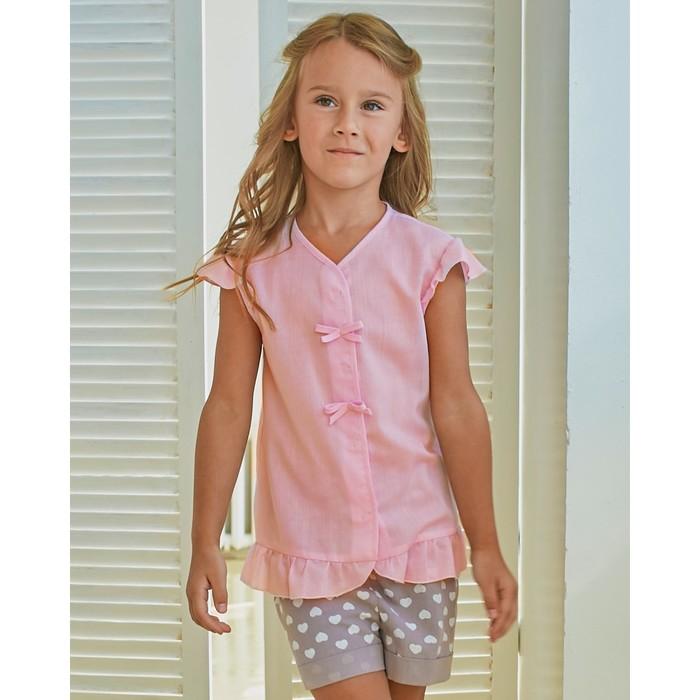 Блузка для девочки MINAKU Cotton collection: Romantic, цвет розовый, рост 110 см - фото 76125413