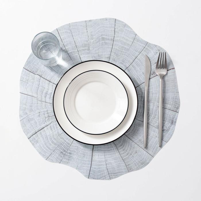 Салфетка кухонная «Спил», 38×39 см, цвет серый - фото 487061