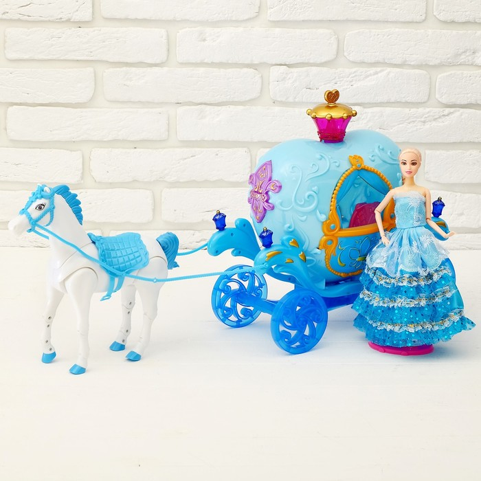 Карета для кукол «Сказка» с куклой, лошадка ходит, световые и звуковые эффекты