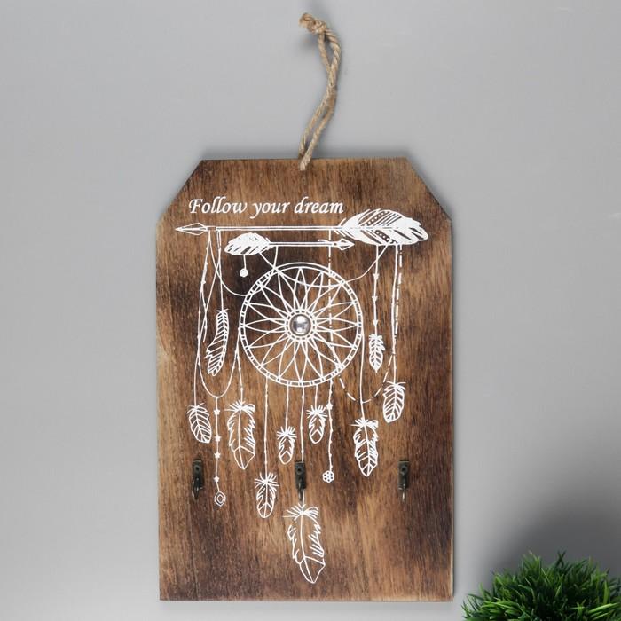 """Крючки декоративные дерево """"Ловец снов со стрелой"""" 30х20х0,5 см"""