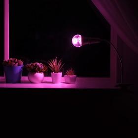 Светильник для растений на прищепке 12 Вт, 9 мкмоль/с, гибкая ножка 30 см, выкл на проводе