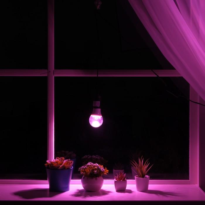 Светильник для растений 9 Вт, 7 мкмоль/с, провод 1,7 метра с выключателем, липучка на окно