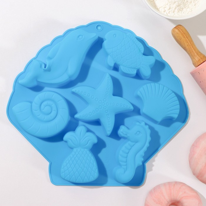 "Baking dish, 7 cells of ""Marine life"" 26х24х2,5 cm MIX color"
