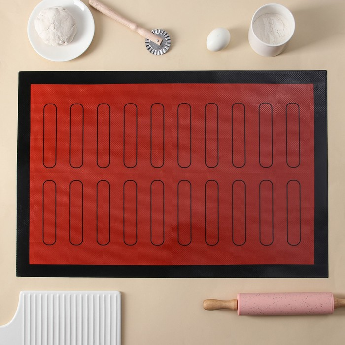 Коврик армированный «Эклер», 60×40 см, цвет красный - фото 838185