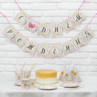 "Set of paper dishes ""happy birthday Little miss"", 6 Cup., 6 colp., 1 ""throats""."