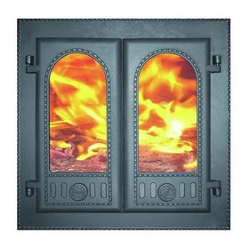 Дверка каминная топочная «Горница»  ДК-6С, 50х50х10,2 см, со стеклом, 2 термошнура