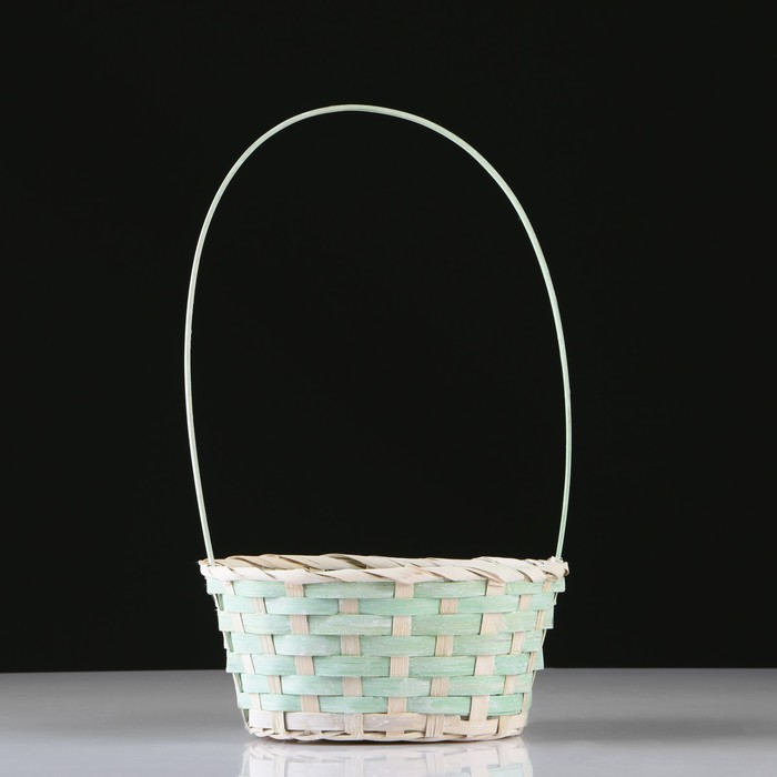 Корзина плетеная, бамбук, D20X15 H10 HH33 см, зеленый