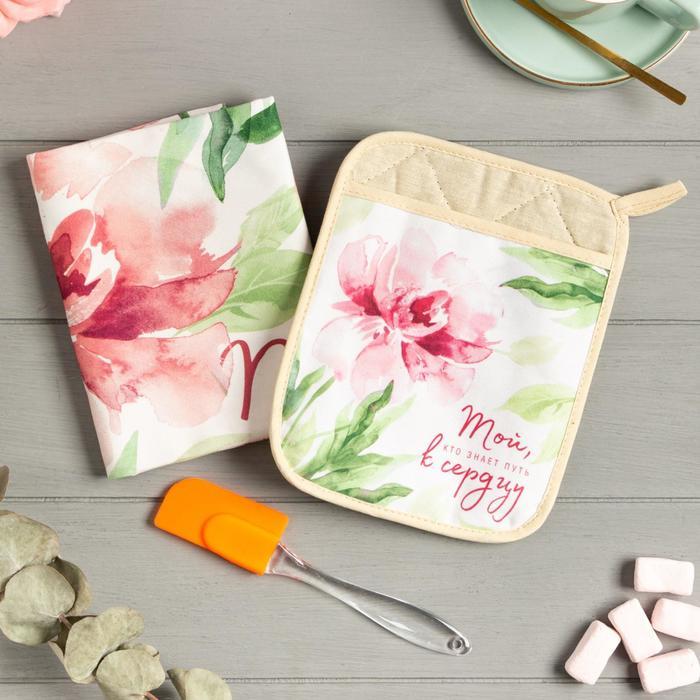 Набор подарочный «Пион» прихватка-карман, полотенце, лопатка - фото 487205