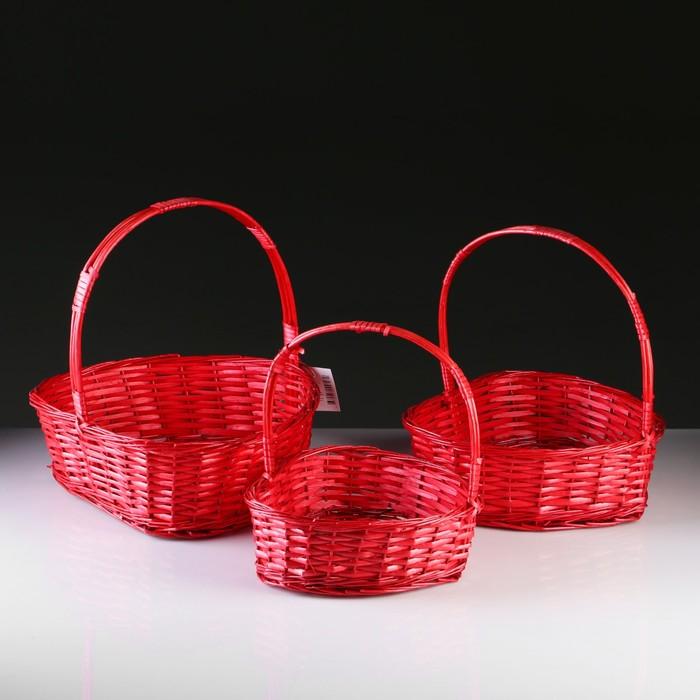 Набор корзин плетеных, ива, 3 шт, 43x43x14/41, 37,5x37,5x12/36, 32x32x10,5/31,5 см, красный