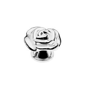 Ручка кнопка TUNDRA Rose 01, белая с серебряным