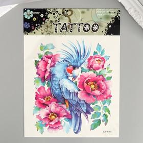 """Татуировка на тело цветная """"Какаду в цветах"""" 19х14 см"""