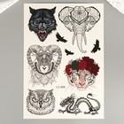 """Татуировка на тело чёрная с цветом """"Животные"""" МИКС 29х16 см"""
