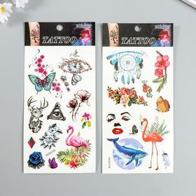 """Татуировка на тело цветная """"Птицы и цветы"""" МИКС 22х10,5 см"""