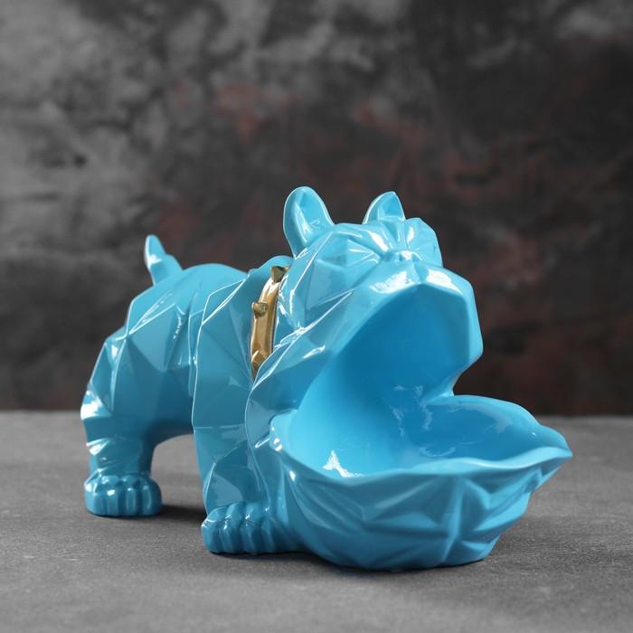 "Подставка под мелочи ""Английский бульдог"" голубой 30х14х16,5см"