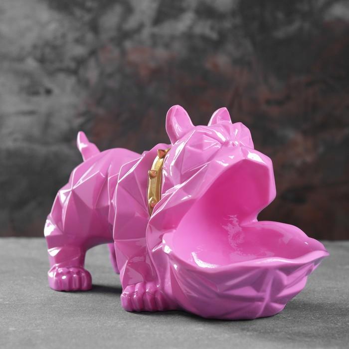 """Подставка под мелочи """"Английский бульдог"""" розовый 30х14х16,5см"""