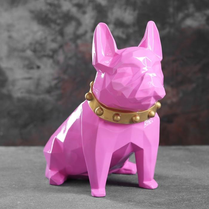 """Подставка под мелочи """"Французский бульдог"""" розовый 31х17х27см"""