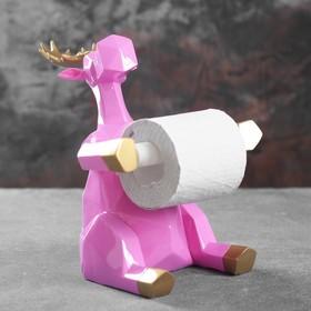 """Держатель для туалетной бумаги """"Лось"""" розовый 19х19х22см"""