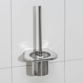 Ёрш для унитаза с подставкой настенный, 12×12×27 см, цвет серебристый