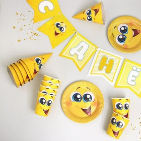 """Set of paper dishes """"Smiley smile"""" (6 plates , 1 garland , 6 glasses, 6 cap.)"""