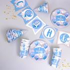 "A set of paper tableware ""1 year old, boys"" foil balloons, (6 plates , 1 garland , 6 Takano 44848"