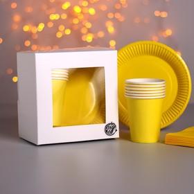 Набор бумажной посуды «Солнечный жёлтый», 6 стаканов, 6 тарелок, 20 салфеток, скатерть
