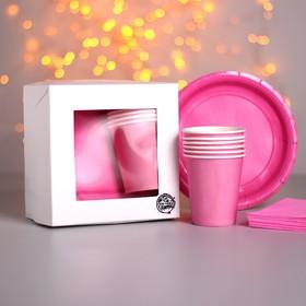 Набор бумажной посуды «Розовый рассвет», 6 стаканов, 6 тарелок, 20 салфеток, скатерть