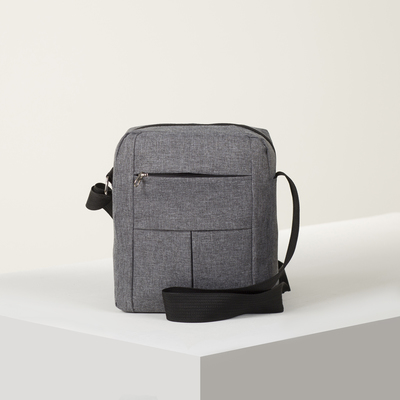 Bag husband of Roma 25*7*19, otd zipper, 2 n/ pockets, long strap, gray