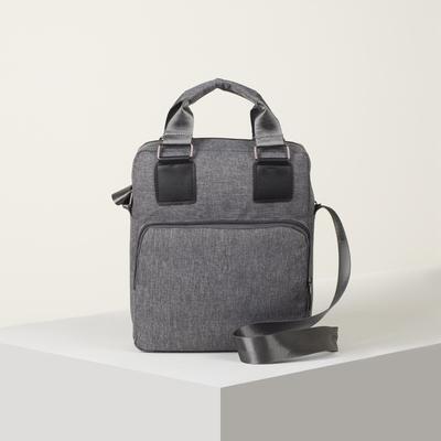 Bag husband Robert, 24*30*10, otd zipper, 2 n/pockets, long strap, gray
