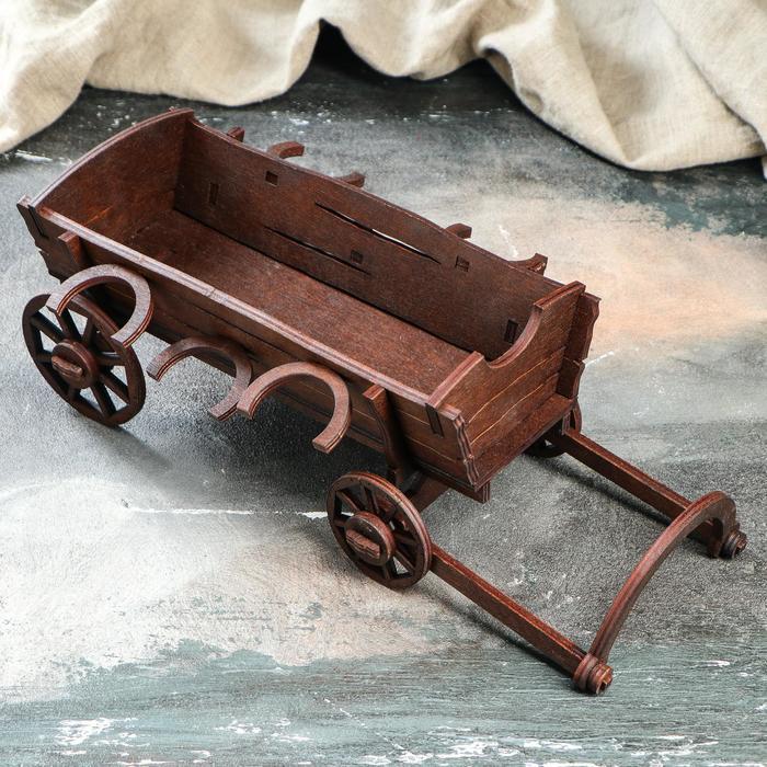 "Мини-бар деревянный ""Телега"", 29 см"
