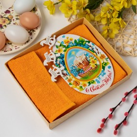 """A towel with a card """"Happy Easter"""""""", 30*60 cm orange, 100% cotton, 340 g/M4"""