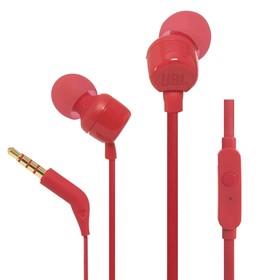 Наушники JBL Т110, вакуумные, 1.2 м, проводные, красные