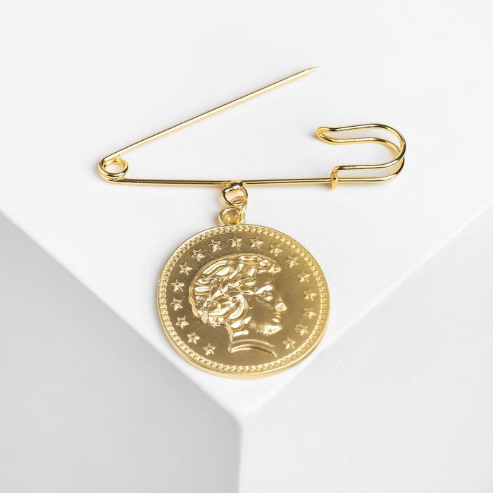 """Булавка с подвеской """"Монета"""", 5см, цвет золото"""
