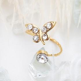 Кольцо на фалангу 'Бабочка', цвет белый в золоте, безразмерное Ош