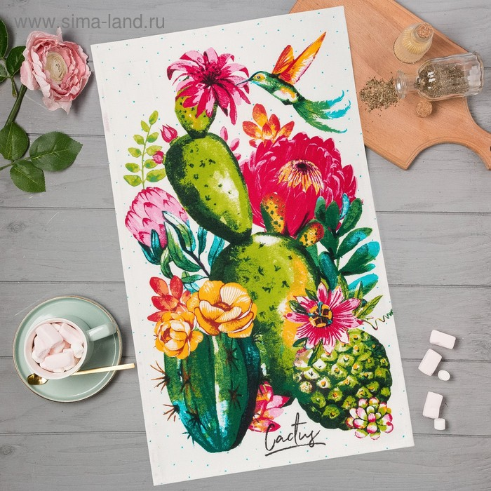 "Towel kuh.""Share"" Cacti 35х60 cm, 100% cotton, 160g/m2"