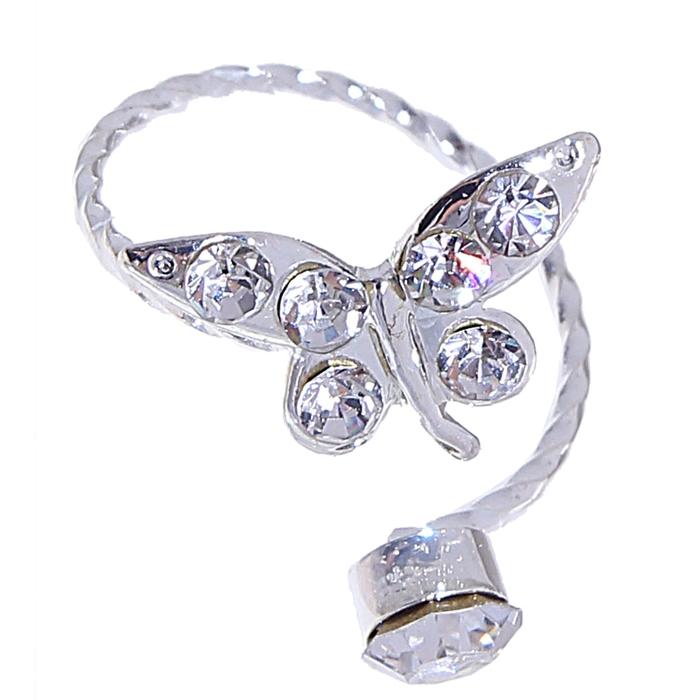 """Кольцо на фалангу """"Бабочка"""", цвет в серебре, безразмерное"""