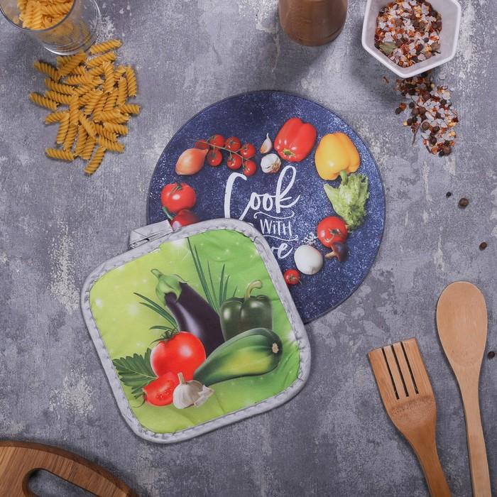 Многофункциональная кухонная доска + прихваткаCook with love, 20 см - фото 664031