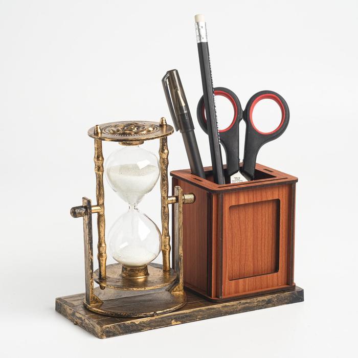 """Часы песочные """"Селин"""" с карандашницей и фоторамкой, 15.5х6.4х12 см - фото 2118394"""