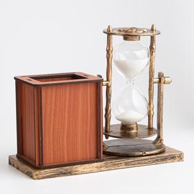 """Часы песочные """"Селин"""" с карандашницей и фоторамкой, 15.5х6.4х12 см - фото 2118395"""
