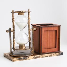 """Часы песочные """"Селин"""" с карандашницей и фоторамкой, 15.5х6.4х12 см - фото 2118396"""