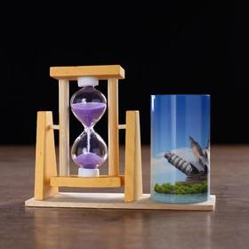 """Часы песочные """"Достопримечательности"""" с карандашницей, 12.5х4.5х9.3 см микс"""