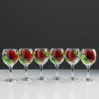 """A set of wine glasses """"Red rose"""" 6 PCs 220 ml"""