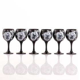 """Набор бокалов для вина """"Розы"""" 6 шт, 220 мл"""