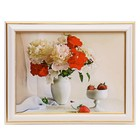 "The painting ""Flowers and strawberries"" - 15x20 cm (18х23см)"