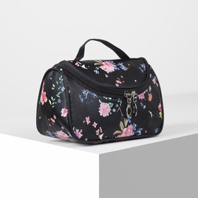 Cosmetic bag-bag Bouquet 21*9*12 the division zipper, mirror, black