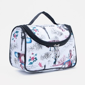 Cosmetic bag-bag of the City 23*11*15 the division zipper, mirror, white