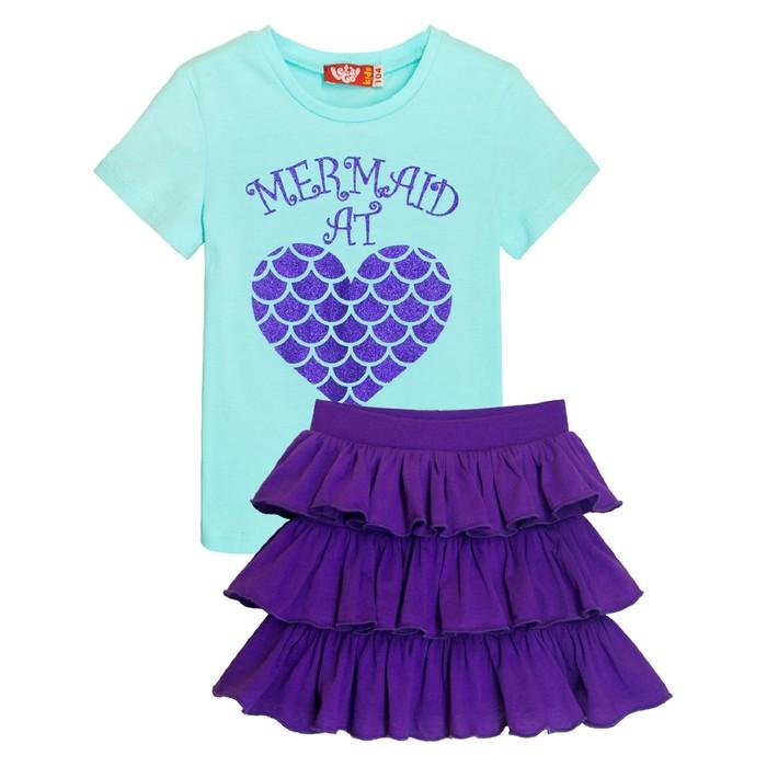 Комплект для девочки, рост 104, цвет мятный/фиолетовый